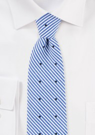 Summer Stripe Cotton Tie in Light Blue