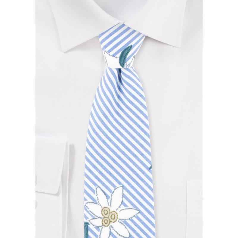 Summer Stripe Cotton Tie with Embroidered Florals