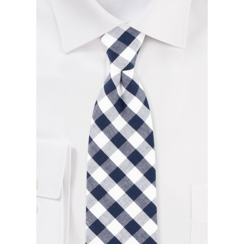 Navy and White Gingham Check Cotton Tie