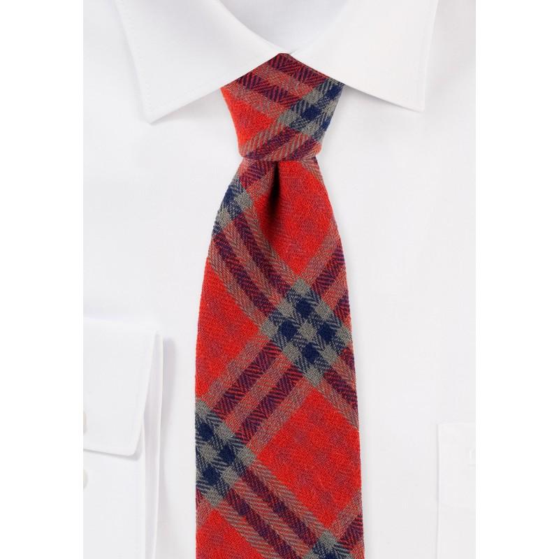 Tartan Plaid Tie in Crimson and Olive