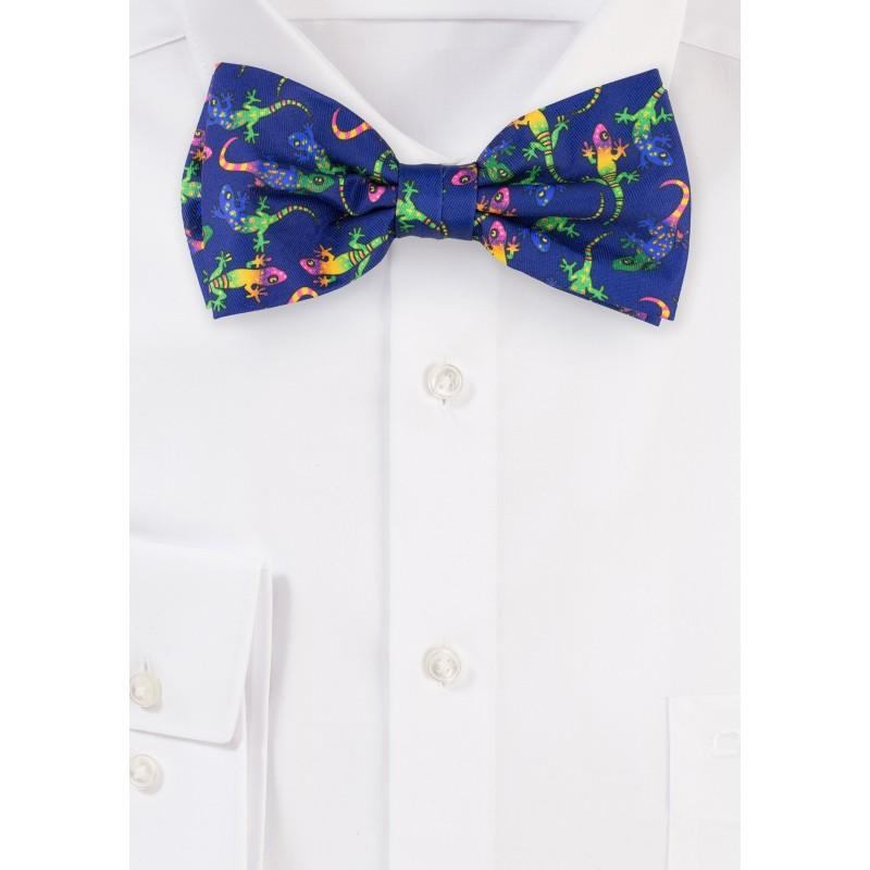 Colorful Gecko Print Designer Bow Tie