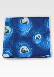 Peacock Feather Print Pocket Square in Blue