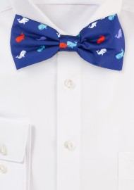 Navy Bow Ties with Whale Print Pattern