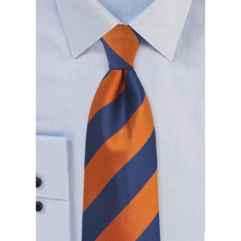 Navy and Orange Repp Textured XL Tie