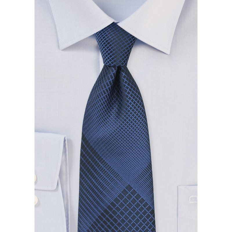 Designer Plaid Necktie in Black and Blue