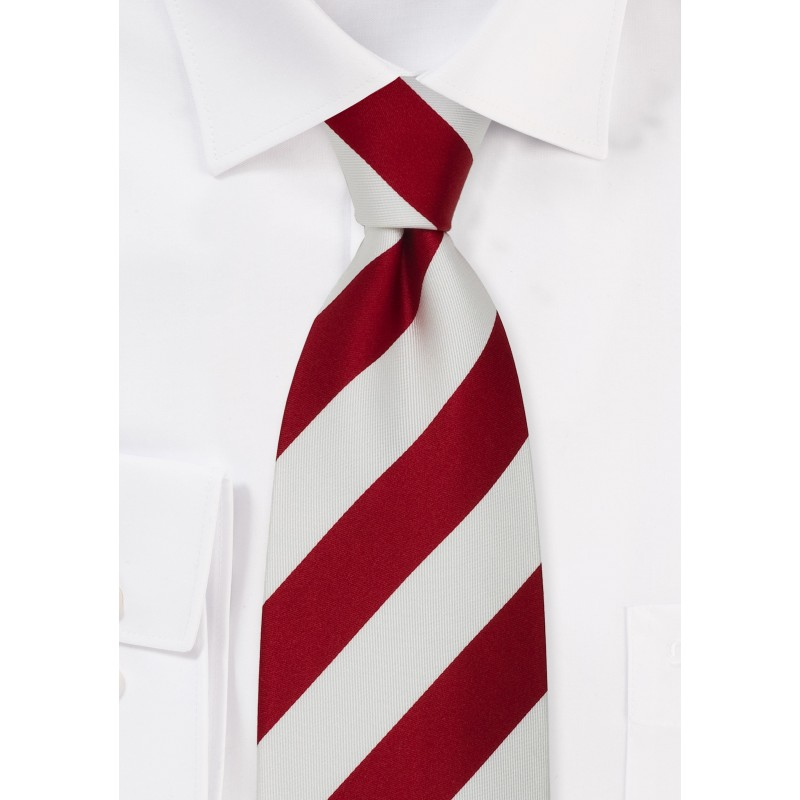Striped Neck Ties - Classic Red & White Striped Tie