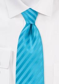 Aqua Blue Striped Tie in Extra Long Length