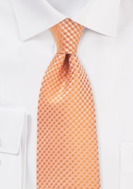 Solid Color Houndstooth Check Tie in Tangerine