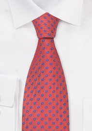 Coral-Red Silk Tie by Chevalier (XL Length)