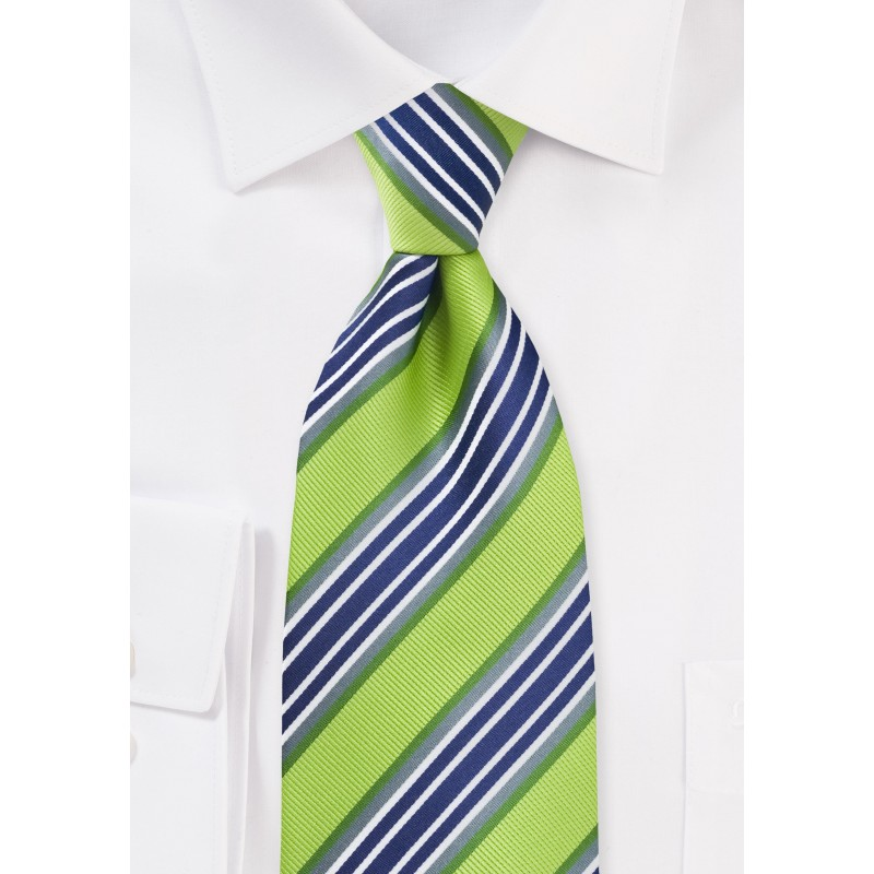 Lime and Navy Striped Tie