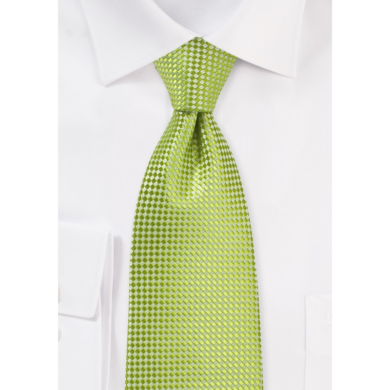 Textured Kids Tie in Parrot Green