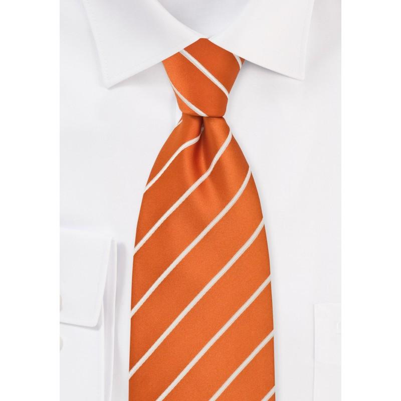Striped Tie in Persimmon Orange White