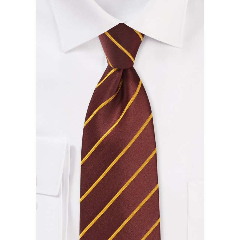 Cinnamon Hued Tie with Narrow Mustard Stripes