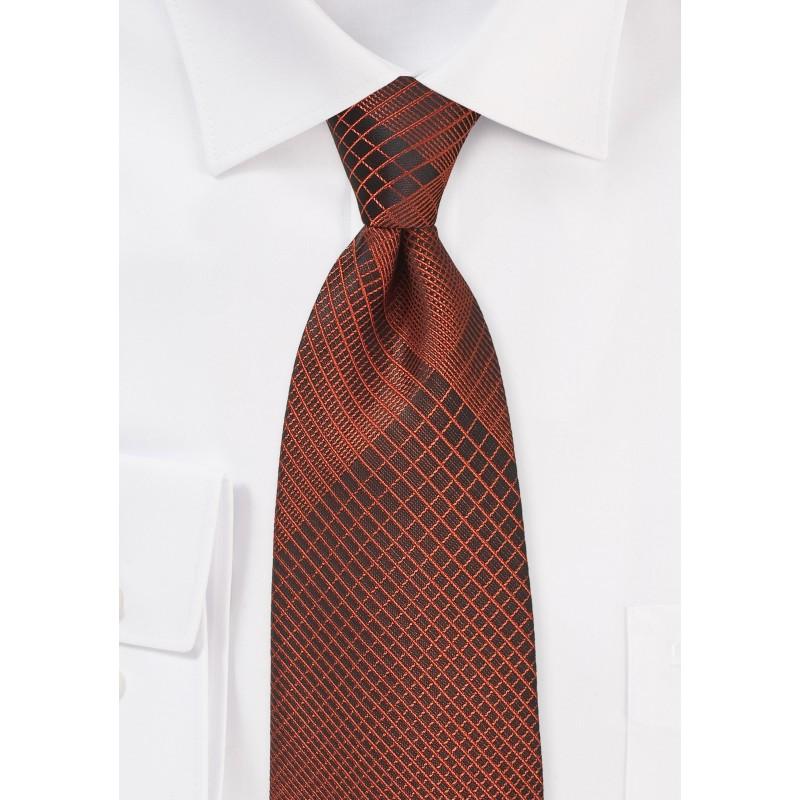 Bold Copper and Black Plaid Tie