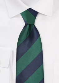 Wide Striped Tie in Hunter...