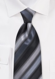 Black and Silver Striped Tie