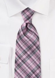 Modern Plaid Tie in Pink and Grey