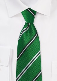 Emerald Green Repp Striped Tied