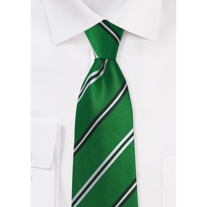 Emerald Green Repp Striped Tied