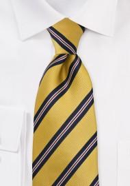 Mustard Yellow and Navy Repp Stripe Kids Tie