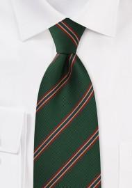British Regimental Striped tie in Dark Green, Red, Gold, and Blue