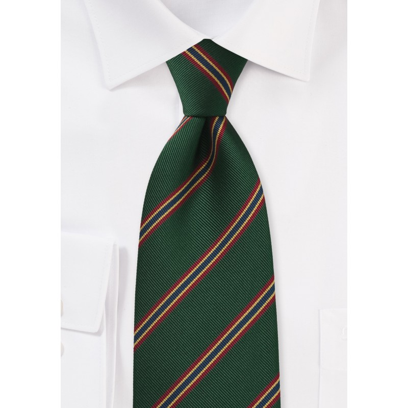 XL Regimental Striped tie in Dark Green, Red, Gold, and Blue