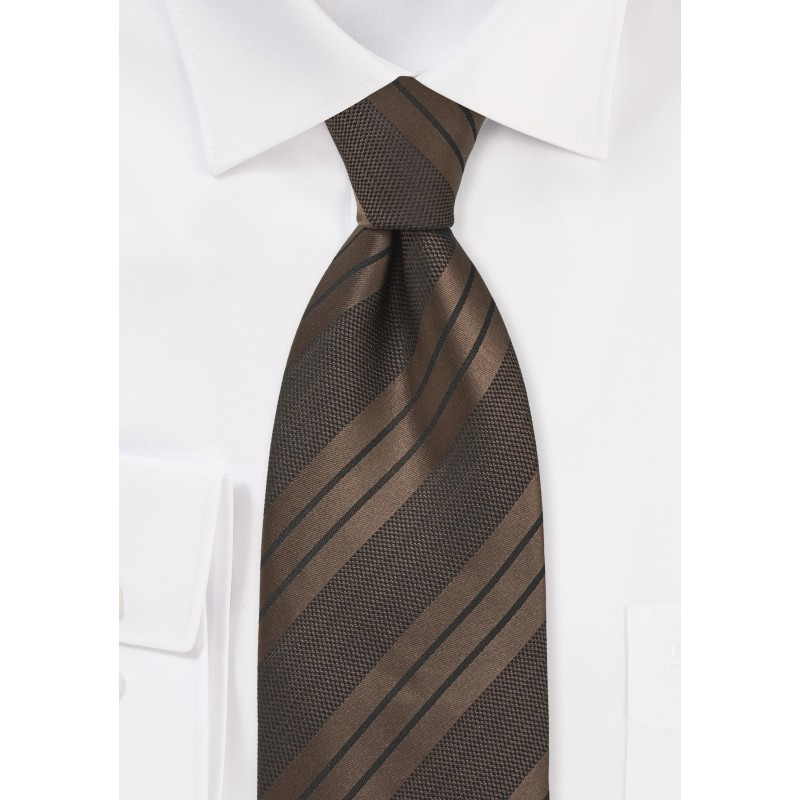 Brown and Black Striped Tie