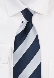 Navy and Silver Striped Kids Tie