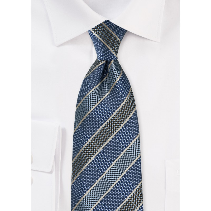 Graphic Prince of Wales Patterned Tie in Blues