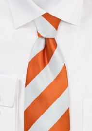 Bright Orange and White Tie in XL