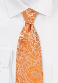 Tangelo Orange Paisley Tie in XL Length