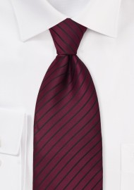 Merlot Red Necktie With Narrow Black Stripes
