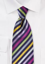 Striped Multi-Colored Kids Length Tie