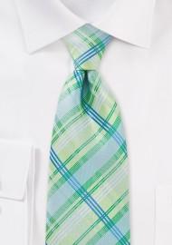 Light Green Check Kids Tie