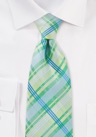 Light Green Checkered Necktie
