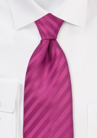 XL Length Rasberry Pink Striped Tie