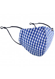 Gingham Check Cotton Mask in Royal