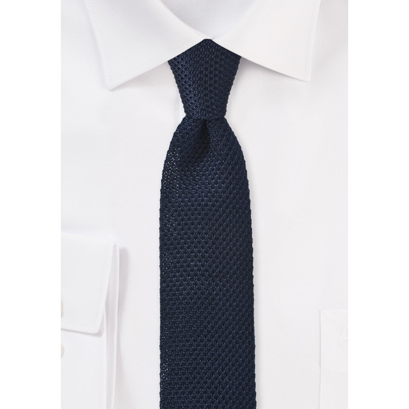 Dark Navy Blue Knitted Necktie