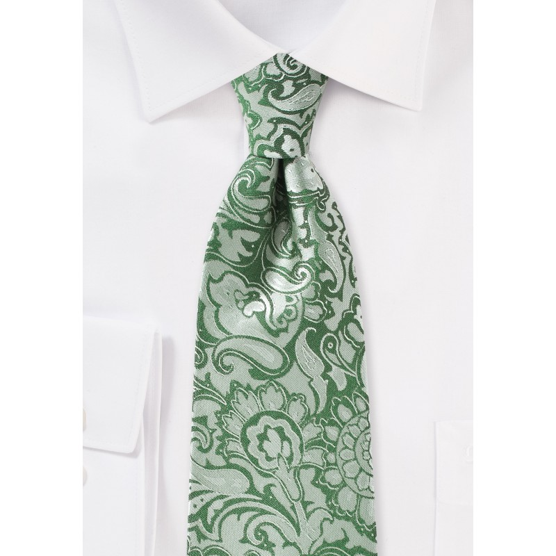 Paisley Designer Tie in Clover Green