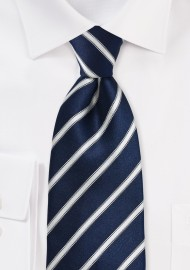 Striped Midnight Blue Tie