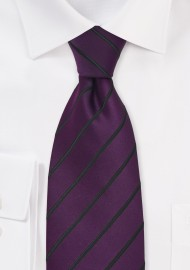 Eggplant and Black Striped Tie in Long Length