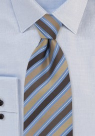 Brown & Blue Striped Silk Tie
