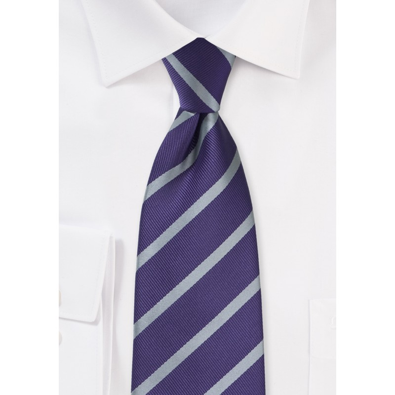 Amethyst and Silver Striped Tie