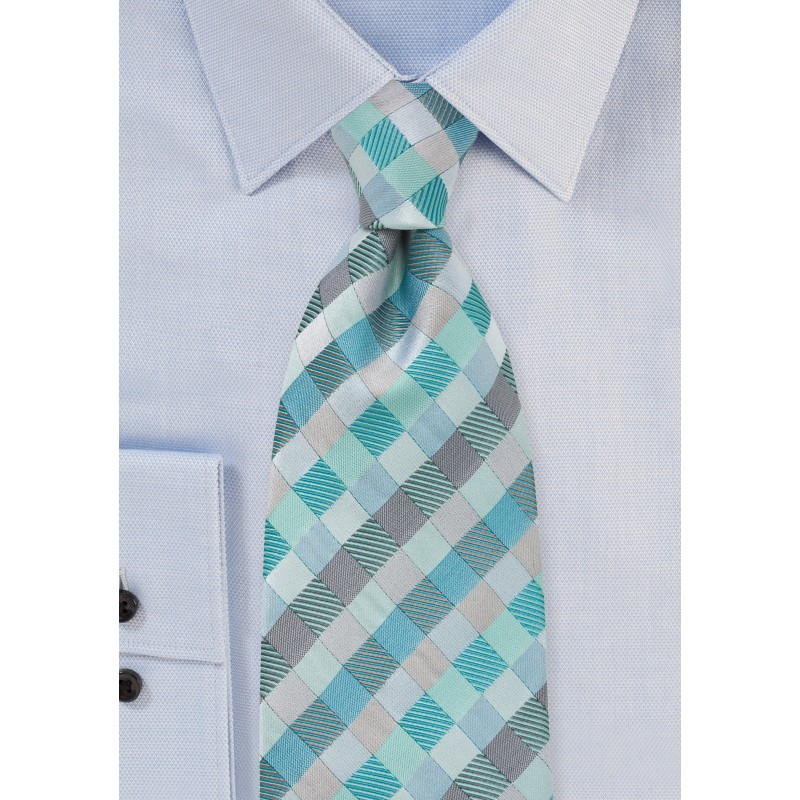 Patchwork Design Kids Tie in Aquas