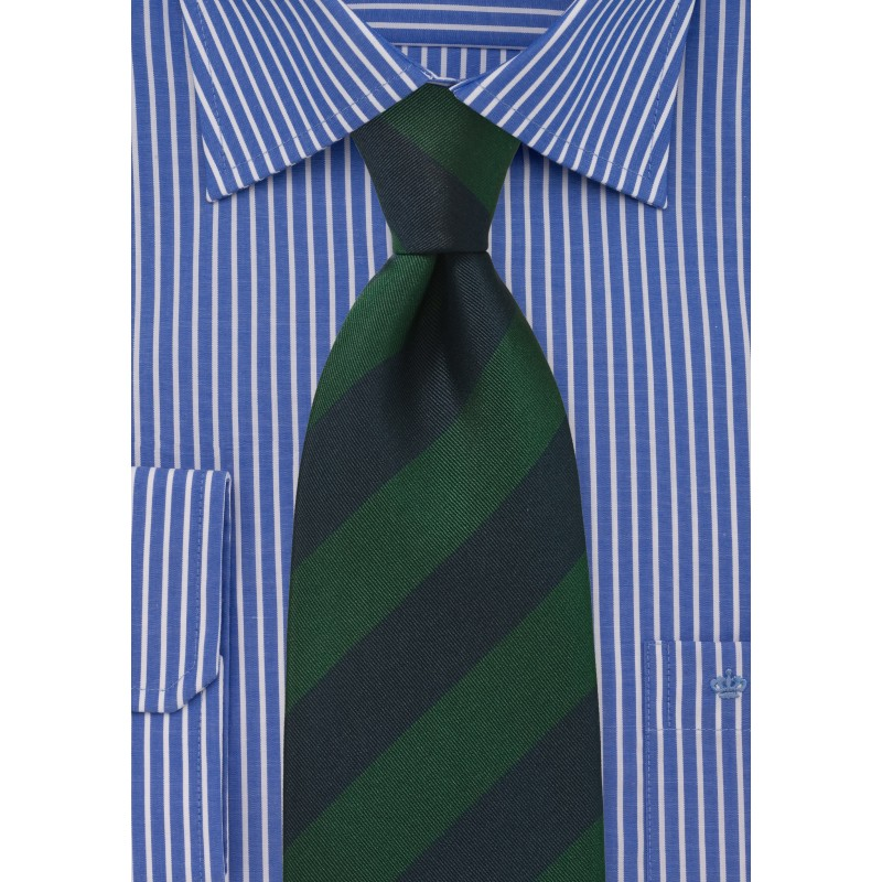 Regimental Tie in Green and Navy