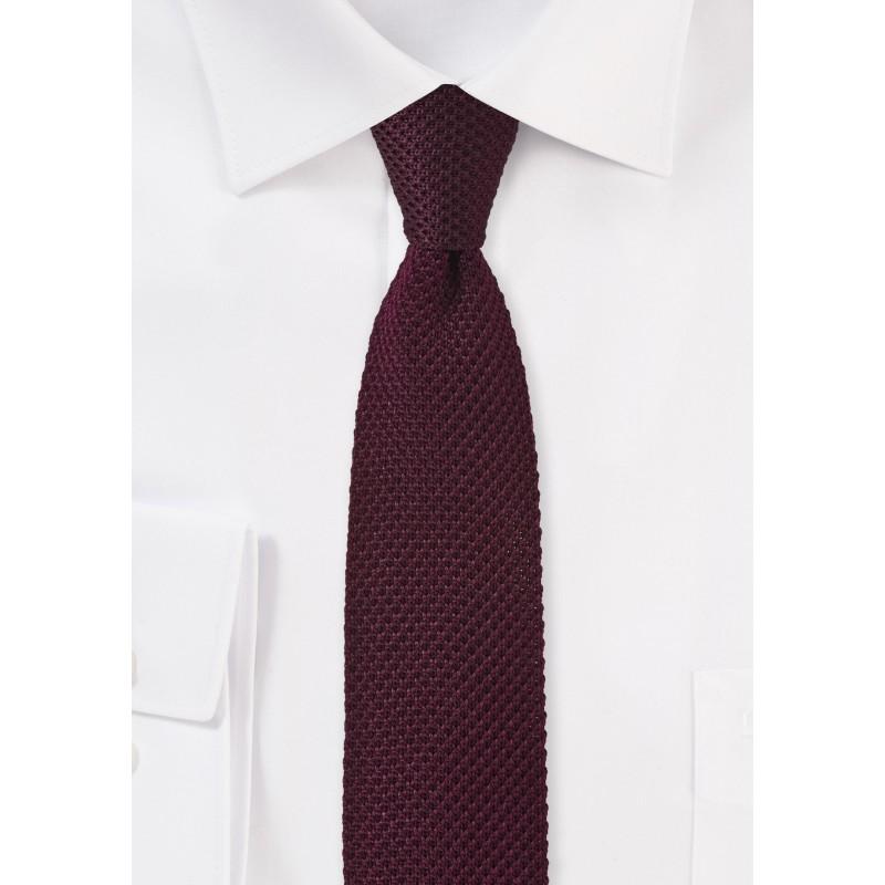 Skinny Knit Tie in Rosewood