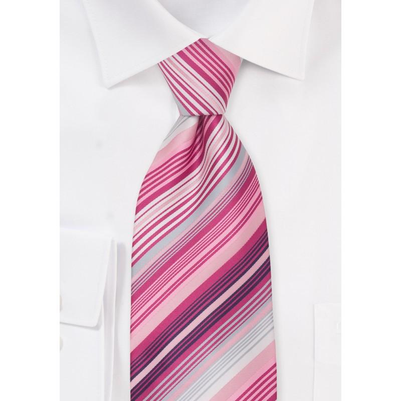Pink, white and magenta kids necktie