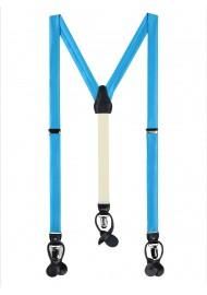 Cyan Blue Satin Fabric Suspenders