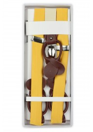 Solid Yellow Colored Mens Suspenders in Box