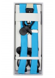 Cyan Blue Satin Fabric Suspenders in Box